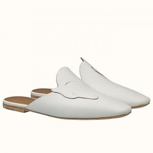 Hermes Tangeria Mule In White Calfskin Leather