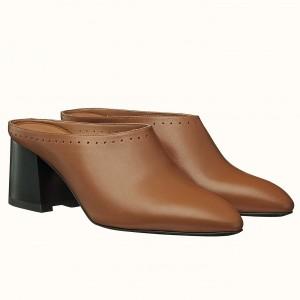 Hermes Trot Mule In Brown Calfskin
