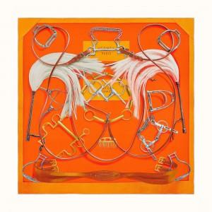 Hermes Orange Projets Carres Shawl 140