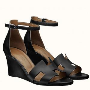 Hermes Legend Wedge Sandal In Black Calfskin
