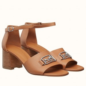 Hermes Viaggio 60MM Sandals In Brown Leather