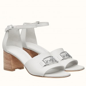 Hermes Viaggio 60MM Sandals In White Leather