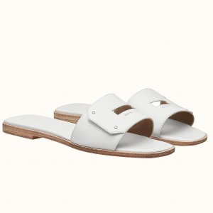 Hermes View Sandals In White Calfskin leather
