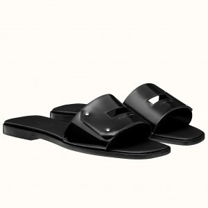 Hermes View Sandals In Black Patent leather