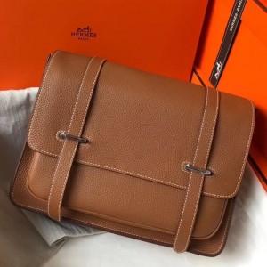 Hermes Steve 35 Messenger Bag In Brown Clemence Calfskin