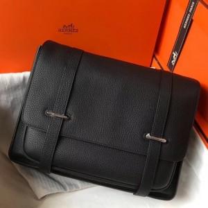 Hermes Steve 35 Messenger Bag In Black Clemence Calfskin