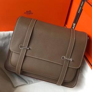 Hermes Steve 35 Messenger Bag In Taupe Clemence Calfskin