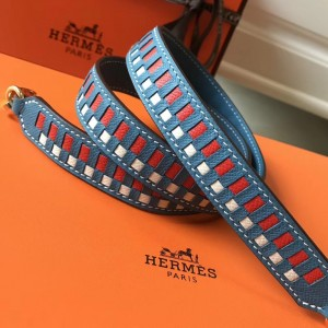 Hermes Blue Jean Tressage Cuir 25MM Bag Strap
