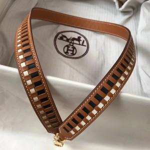 Hermes Brown Tressage Cuir 25MM Bag Strap