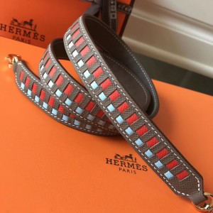 Hermes Taupe Tressage Cuir 25MM Bag Strap