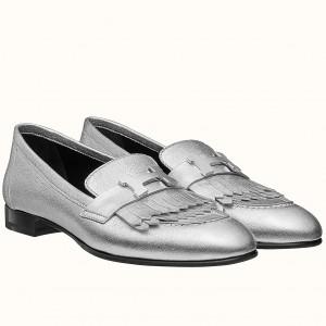 Hermes Royal Loafers In Silver Metallic Lambskin