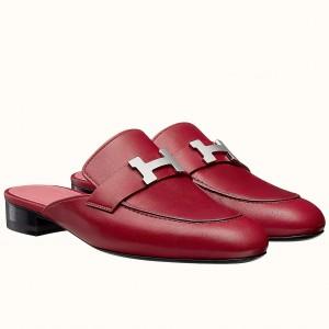 Hermes Trocadero Mules In Red Goatskin