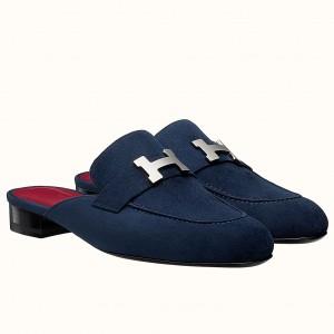 Hermes Trocadero Mules In Blue Suede