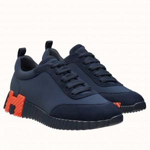 Hermes Bouncing Sneakers In Blue Canvas