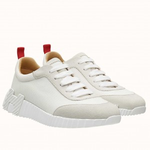 Hermes Bouncing Sneakers In White Canvas