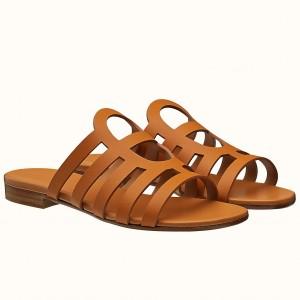 Hermes Camelia Sandals In Brown Calfskin