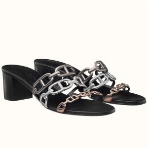 Hermes Tandem Sandals In Gold/Silver Lambskin