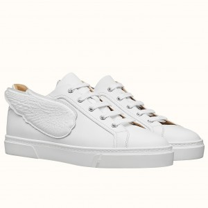 Hermes Velvet Sneakers In White Calfskin With Printed Wing Patch