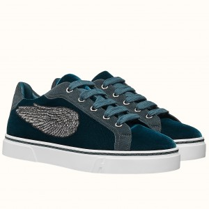 Hermes Velvet Sneakers In Blue Velvet With Embroidered Wing Patch