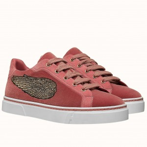 Hermes Velvet Sneakers In Pink Velvet With Embroidered Wing Patch