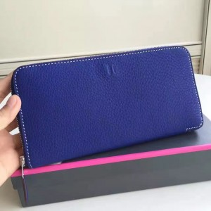 Hermes Blue Electric Clemence Azap Zipped Wallet