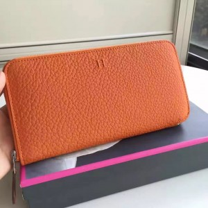 Hermes Orange Clemence Azap Zipped Wallet