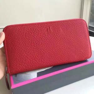 Hermes Red Clemence Azap Zipped Wallet