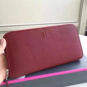 Hermes Ruby Clemence Azap Zipped Wallet