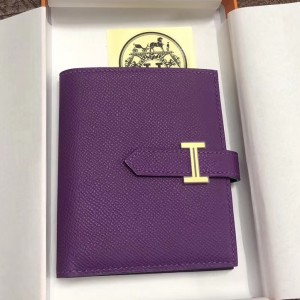 Hermes Bearn Compact Wallet In Purple Epsom Leather