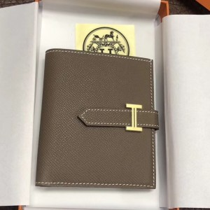 Hermes Bearn Compact Wallet In Taupe Grey Epsom Leather