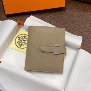 Hermes Bearn Compact Wallet In Trench Epsom Leather