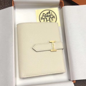 Hermes Bearn Compact Wallet In White Epsom Leather