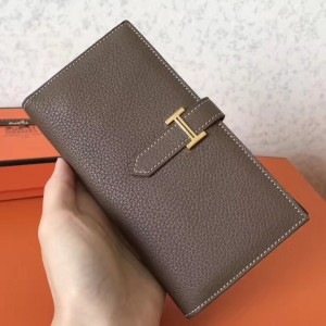 Hermes Taupe Clemence Bearn Gusset Wallet