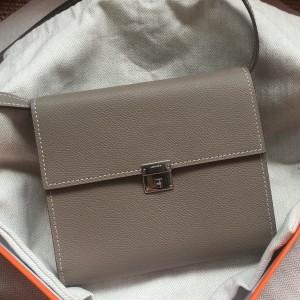 Hermes Grey Clic 16 Wallet With Strap