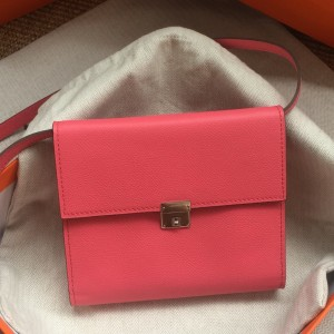 Hermes Rose Lipstick Clic 16 Wallet With Strap