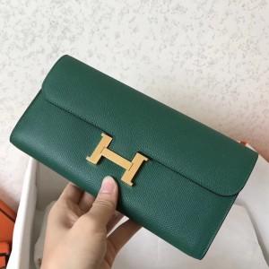 Hermes Malachite Epsom Constance Long Wallet