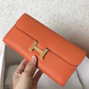 Hermes Orange Epsom Constance Long Wallet
