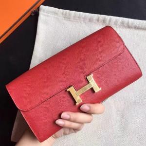 Hermes Red Epsom Constance Long Wallet