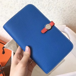 Hermes Bicolor Dogon Duo Wallet In Blue/Piment Leather