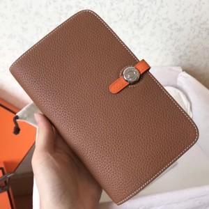 Hermes Bicolor Dogon Duo Wallet In Brown/Orange Leather