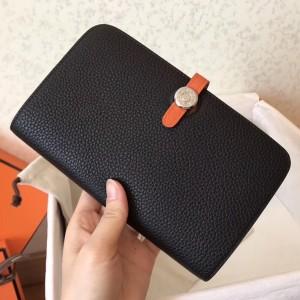 Hermes Bicolor Dogon Duo Wallet In Black/Orange Leather