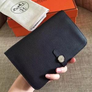 Hermes Black Dogon Duo Combined Wallet