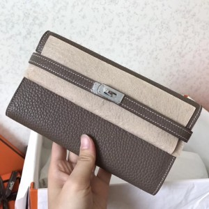 Hermes Kelly Classic Long Wallet In Etoupe Clemence Leather