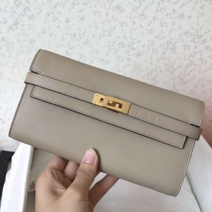 Hermes Kelly Classic Long Wallet In Grey Epsom Leather