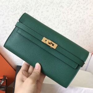 Hermes Kelly Classic Long Wallet In Malachite Epsom Leather