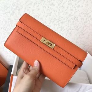 Hermes Kelly Classic Long Wallet In Orange Epsom Leather