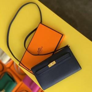 Hermes Kelly Classique To Go Wallet In Dark Blue Epsom Calfskin
