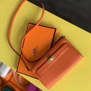 Hermes Kelly Classique To Go Wallet In Orange Epsom Calfskin