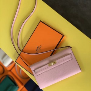Hermes Kelly Classique To Go Wallet In Pink Epsom Calfskin