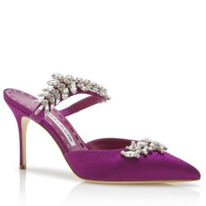 Manolo Blahnik Lurum 90mm Mules In Purple Satin With Crystal